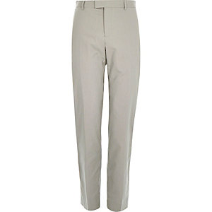 Ecru smart cotton-blend slim trousers
