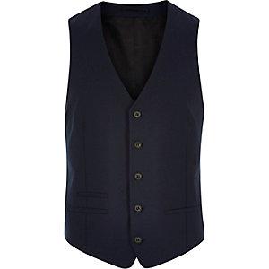 Navy skinny waistcoat