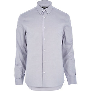Grey Oxford slim long sleeve shirt