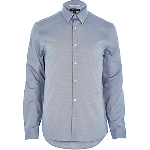 Dark grey Oxford slim long sleeve shirt