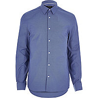 Dark blue Oxford slim long sleeve shirt