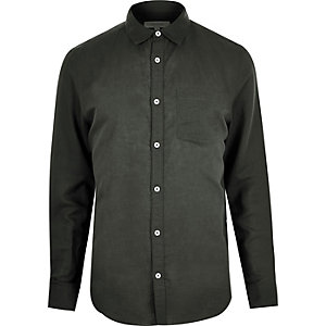 Dark khaki linen blend long sleeve shirt