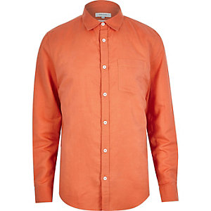 Orange linen blend long sleeve shirt