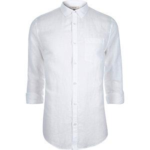 White linen-blend shirt