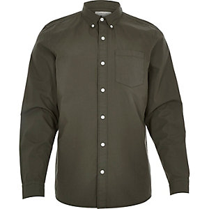 Khaki green poplin long sleeve shirt