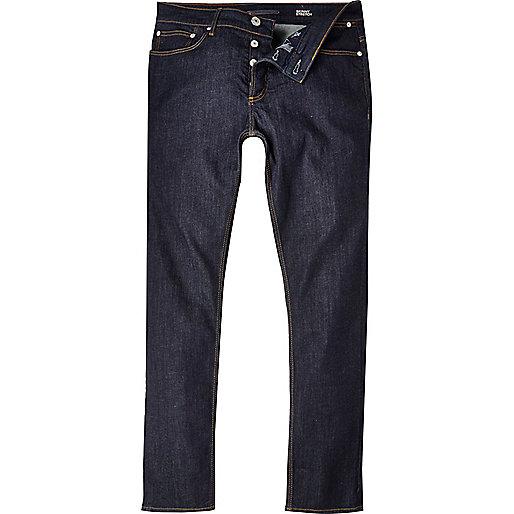 Jean skinny stretch Sid à délavage bleu foncé