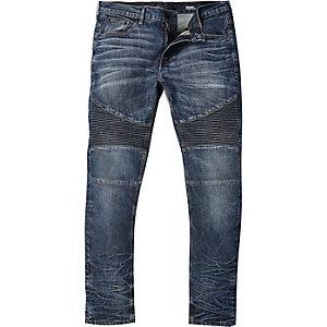 Mid wash Sid skinny stretch biker jeans
