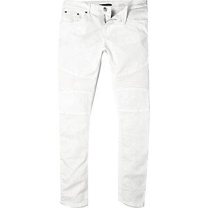 White Sid skinny stretch biker jeans
