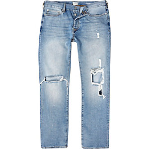 Light wash ripped Dean straight jeans
