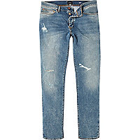 Mid blue distressed Dylan slim jeans