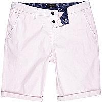 Light pink slim chino shorts