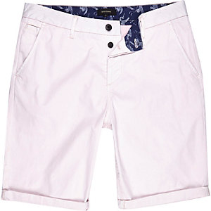 Light pink slim chino shorts