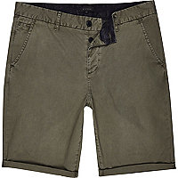 Khaki green slim chino shorts
