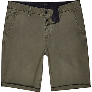 Khaki green slim chino shorts