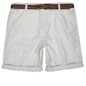 Grey Oxford belted shorts