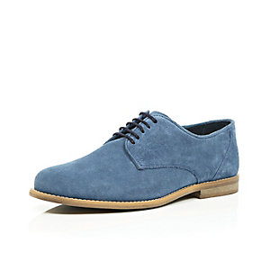 Blue suede smart shoes