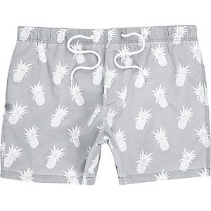 Grey pineapple print drawstring swim trunks