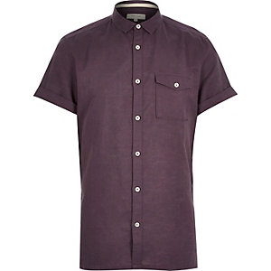 Purple linen-blend short sleeve shirt
