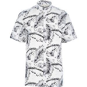 White fern print short sleeve shirt