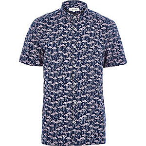 Navy flamingo print short sleeve shirt
