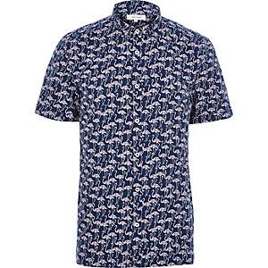 Navy flamingo print short sleeve shirt