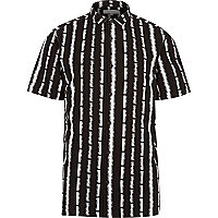Black stripe short sleeve shirt