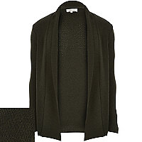 Green open front cardigan