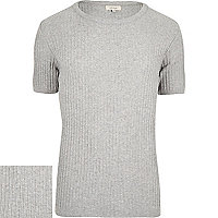 Grey ribbed short sleeve jumper