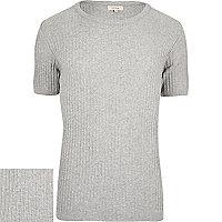 Grey ribbed short sleeve jumper