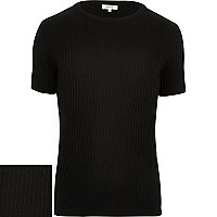 Black ribbed short sleeve jumper