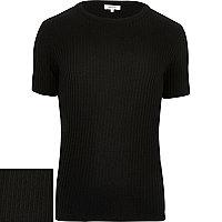 Black ribbed short sleeve jumper