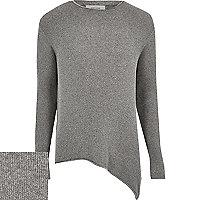 Dark grey asymmetric hem jumper
