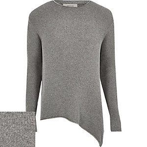 Dark grey asymmetric hem jumper