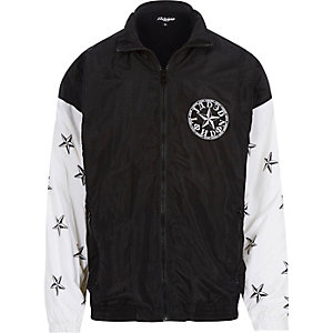 Black Jaded star print shellsuit jacket