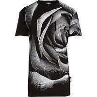 Black Jaded rose print t-shirt
