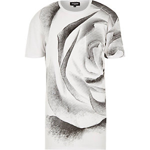 White Jaded rose print t-shirt