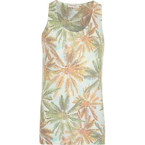 Green palm tree print vest