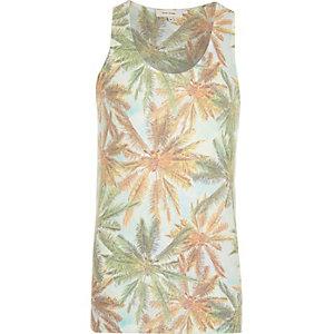 Green palm tree print vest