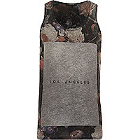 Grey floral Los Angeles print vest