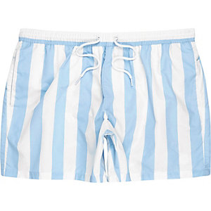 Blue stripe drawstring swimshorts