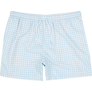 Blue gingham swim shorts