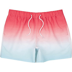 Blue and red faded swim shorts