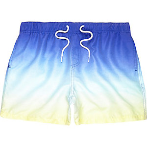 Yellow dip dye drawstring swim trunks