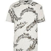 Ecru leaf print short sleeve t-shirt