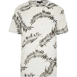 Ecru leaf print short sleeve t-shirt