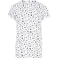 White micro triangle print t-shirt
