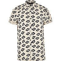 Ecru square print short sleeve shirt