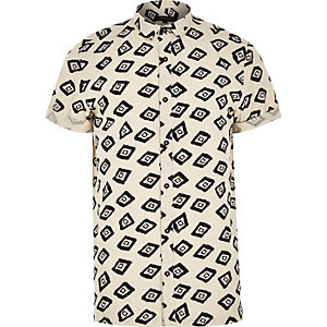 Ecru geometric square print shirt