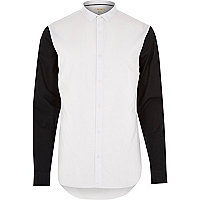 White contrast long sleeve shirt
