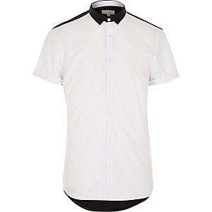 White colour block short sleeve shirt